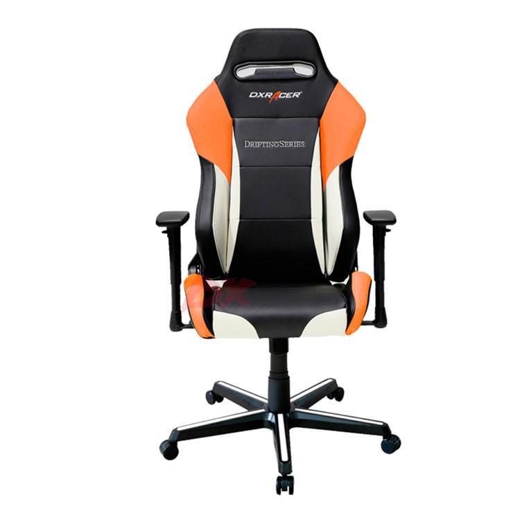 Компьютерное кресло DXRacer OH/DM61/NWO - цвет Черный с белыми и оранжевыми вставками