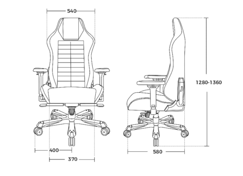 Компьютерное кресло DXRacer Master DMC/D233S - Габариты кресла, мм.