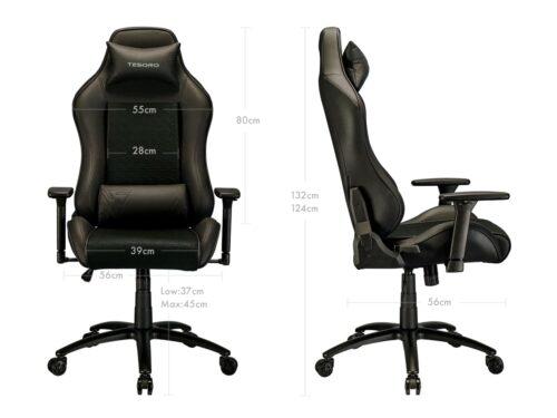 Игровое компьютерное кресло TESORO Alphaeon S2 Черный - Размеры