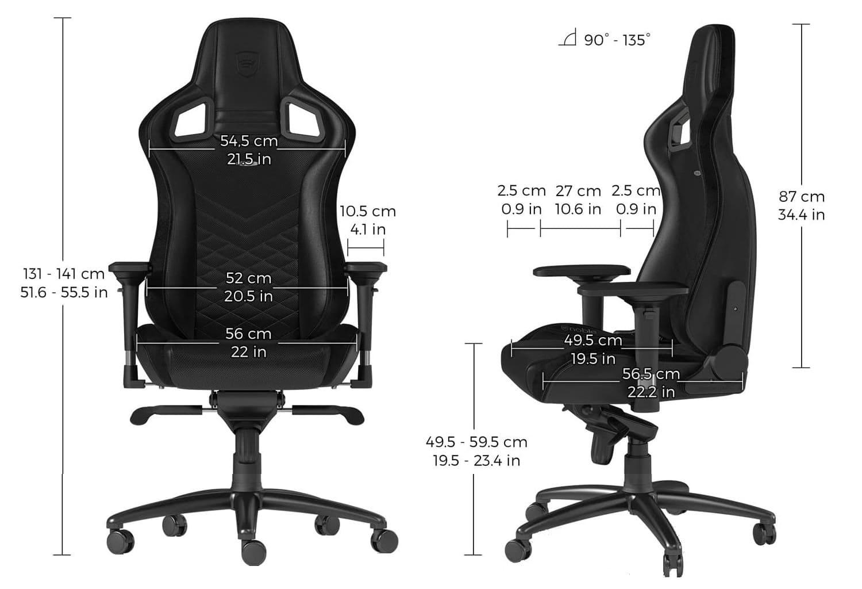 Игровое кресло noblechairs EPIC Black/Black - Размеры