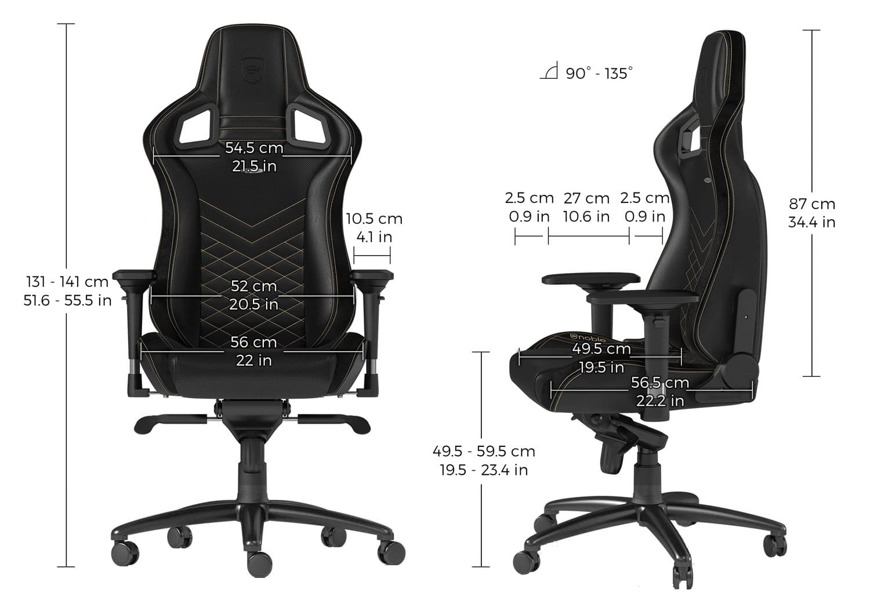Игровое кресло noblechairs EPIC Black/Gold - Размеры