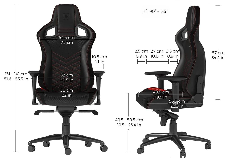 Игровое кресло noblechairs EPIC Black/Red - Размеры