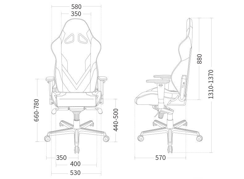 Компьютерное кресло DXRacer G серия - Размеры кресла