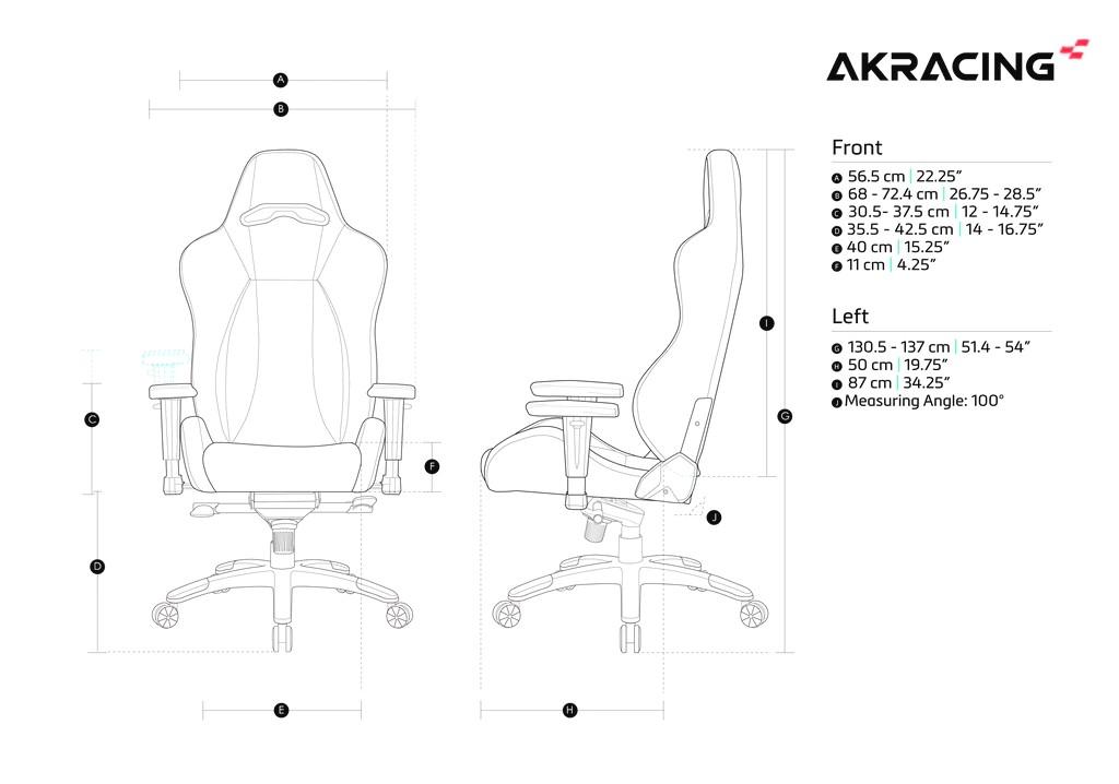 Кресло игровое AKRacing Premium ARCTICA - Размеры