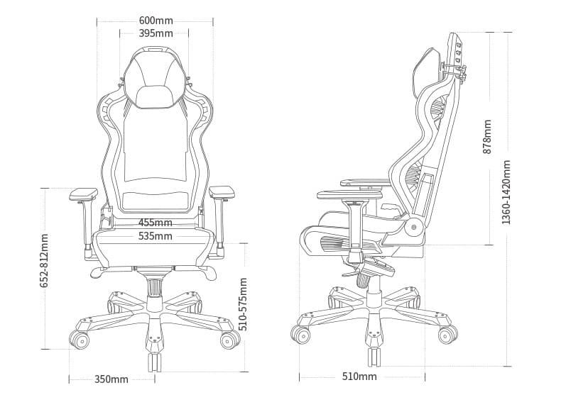 Компьютерное кресло DXRacer AIR/D7200/GN (Air Plus) - Размеры
